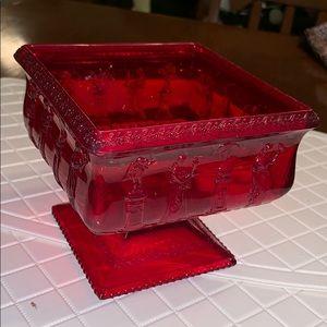 Vtg ruby red plastic Grecian square bowl/planter